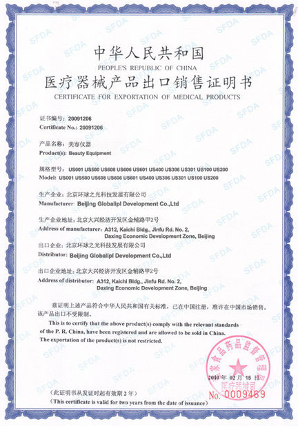 Porcellana Beijing Globalipl Development Co., Ltd. Certificazioni